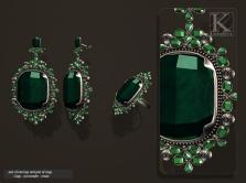 (Kunglers) Aphrodite earring emerald AD